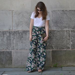 High Waisted Floral Statement Pants